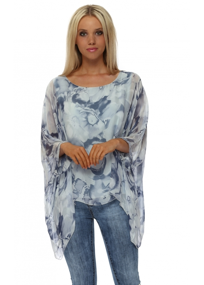 Made In Italy Blue Bold Rose Silk Batwing Top