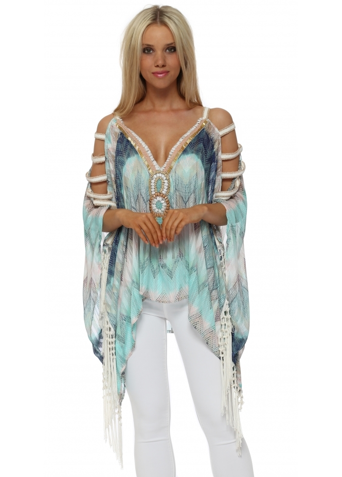 My Story Blue Zig Zag Beaded Ladder Sleeve Kaftan Top