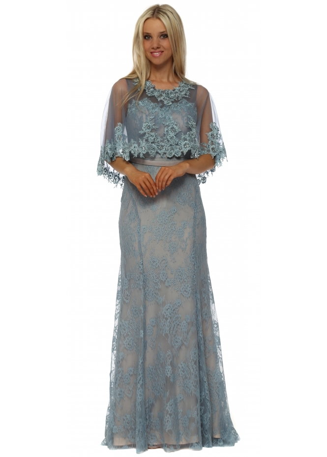 Mascara Petrol Blue Lace Maxi Dress With Lace Cape