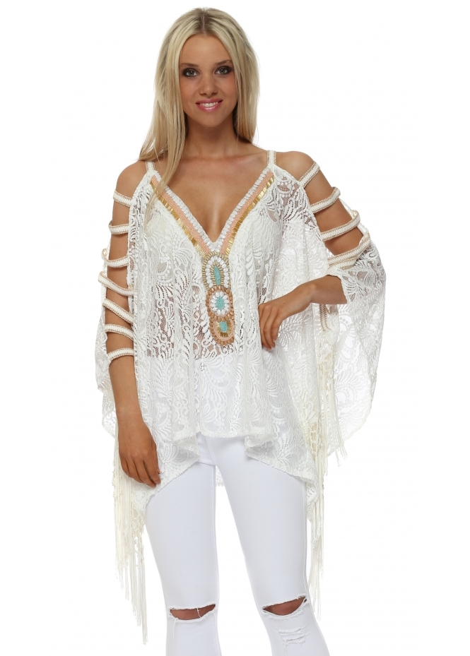 My Story Ivory Lace Beaded Ladder Sleeve Kaftan Top