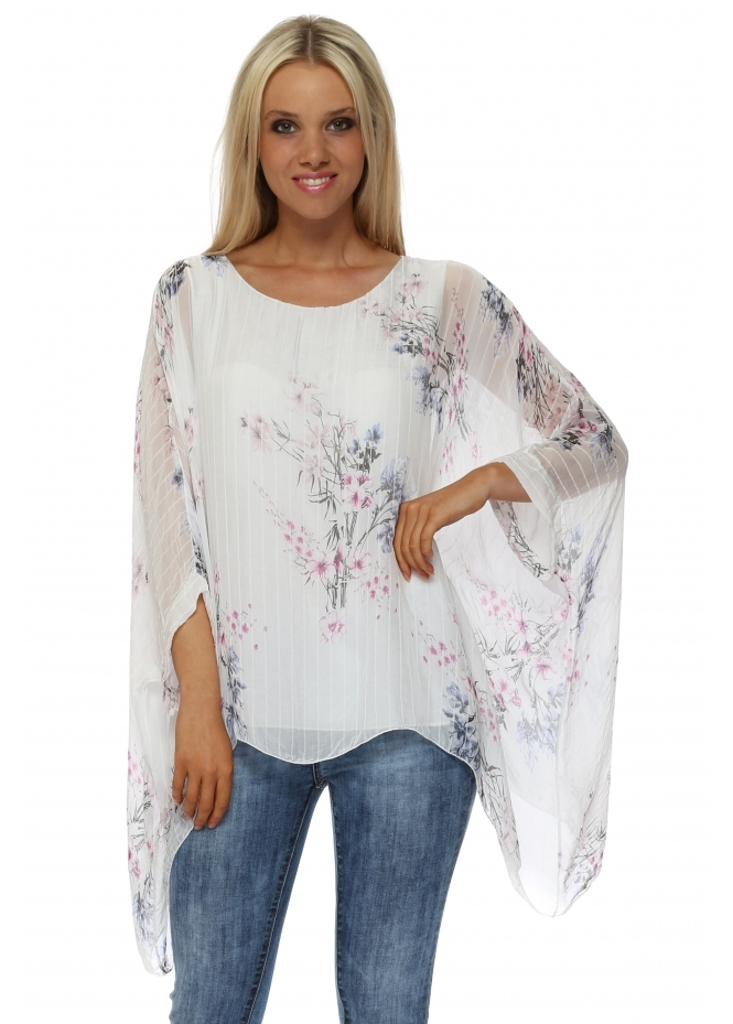 Shyloh White Multi Floral Print Stripe Silk Floaty Top