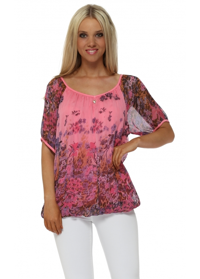 Made In Italy Hot Pink Forget Me Not Silk Blouse