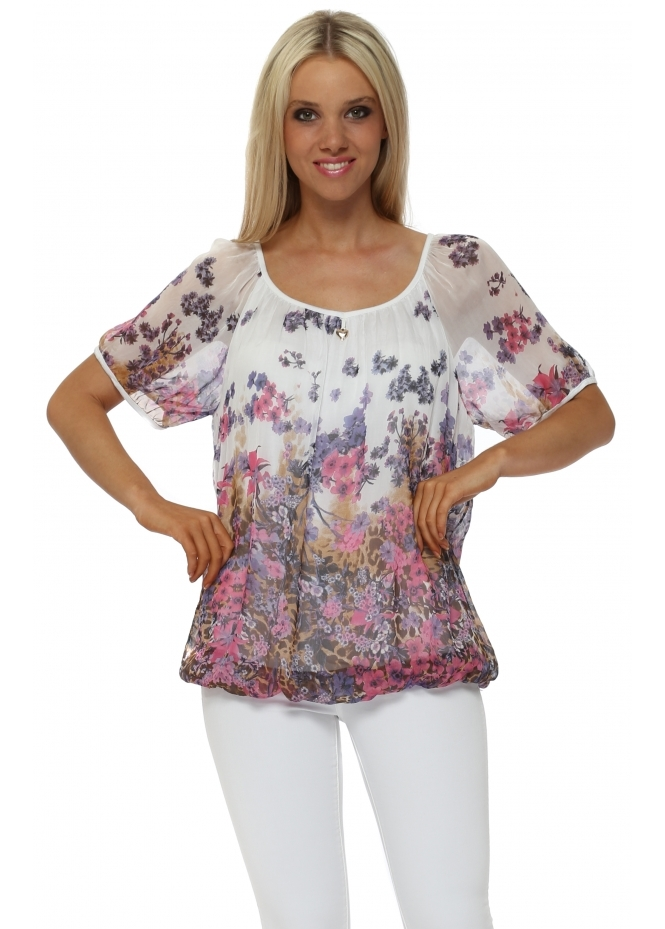 Made In Italy White Forget Me Not Silk Blouse