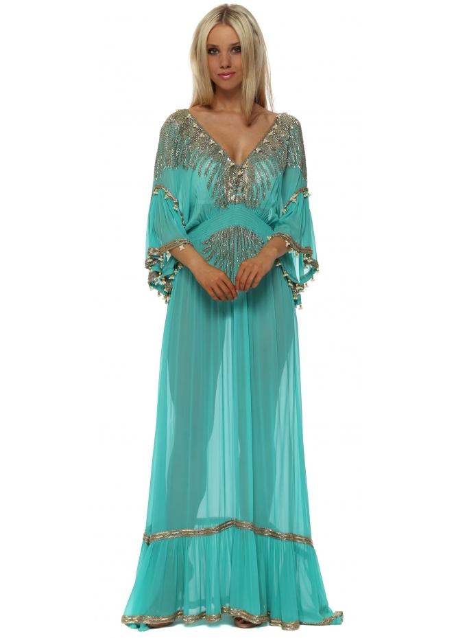 Diamond For Eden Jade Green Luxe Jewelled Maxi Kaftan Dress