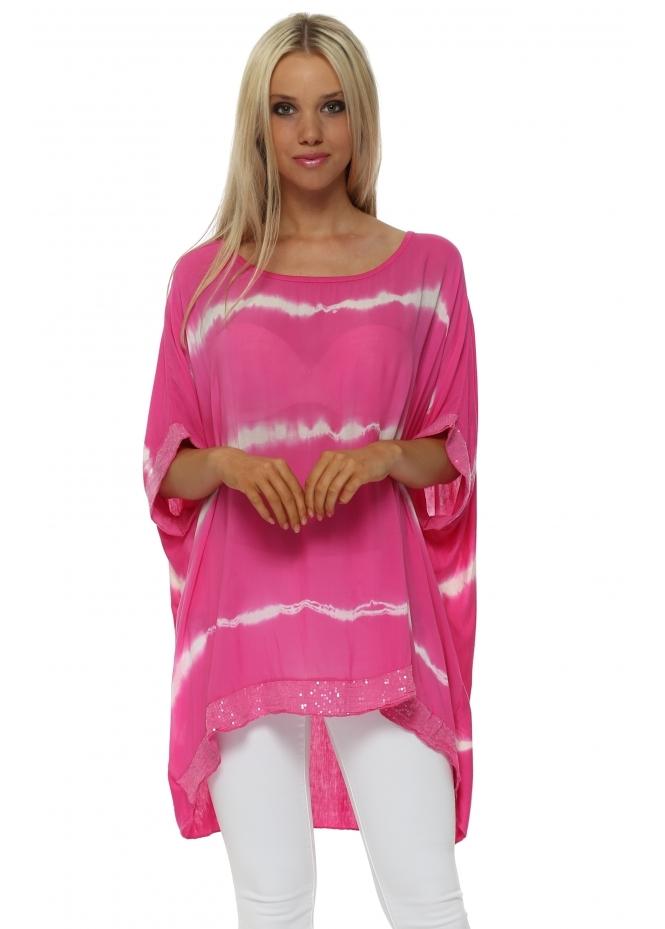 Italian Boutique Fucshia & White Tie Dye Sequinned Top