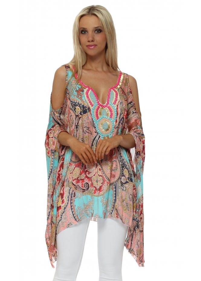 Troiska Aqua & Coral Paisley Embellished Cold Shoulder Kaftan Top