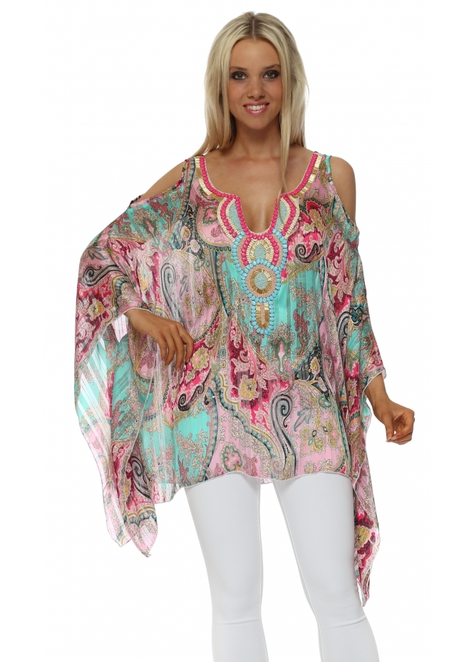 Troiska Green & Pink Paisley Embellished Cold Shoulder Kaftan Top