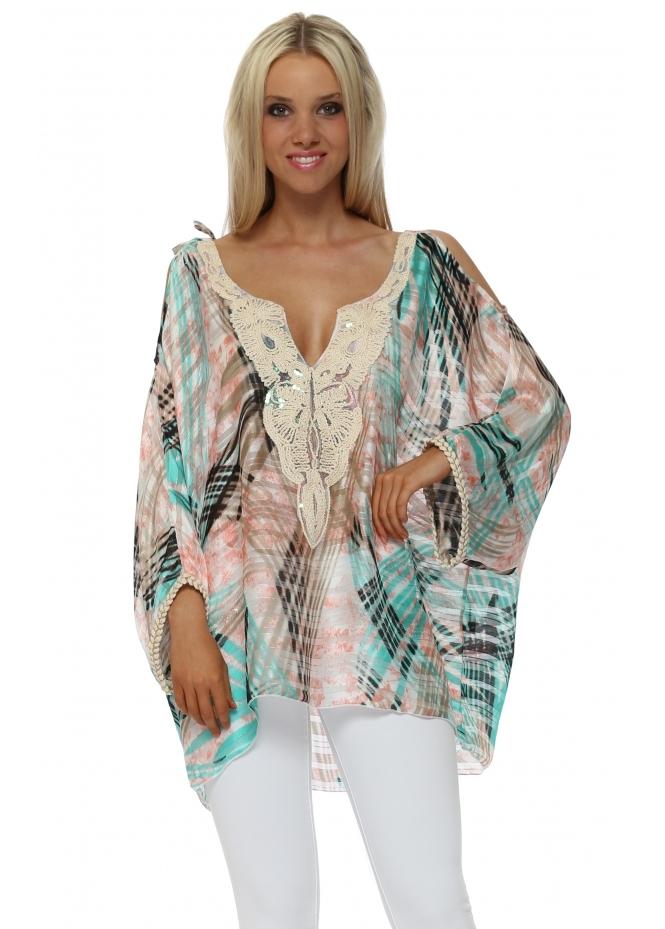 Troiska Aqua & Pink Print Cold Shoulder Tunic Top