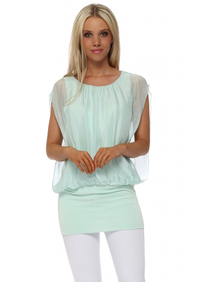 Italian Boutique Mint Green Silk Sleeveless Bandeau Hem Top