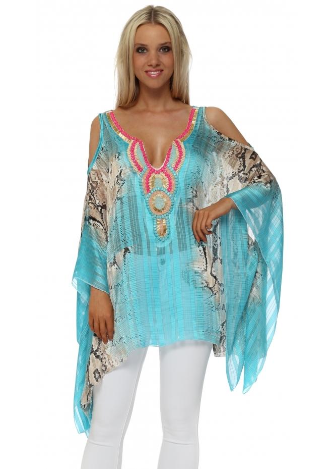 Troiska Turquoise Snake Print Embellished Cold Shoulder Kaftan Top