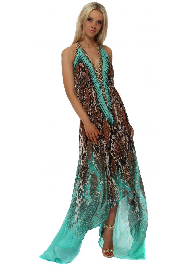 Woodford & Reay Exotic Jade Snake Print Halter Neck Maxi Dress