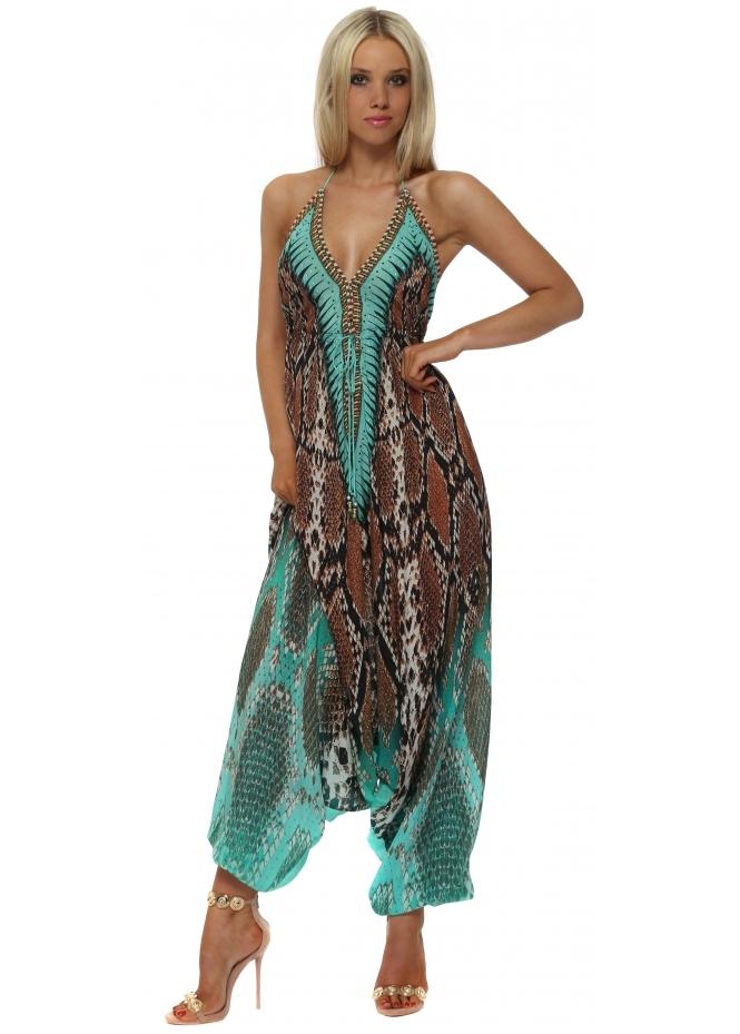 Woodford & Reay Exotic Jade Snake Print Halter Neck Jumpsuit