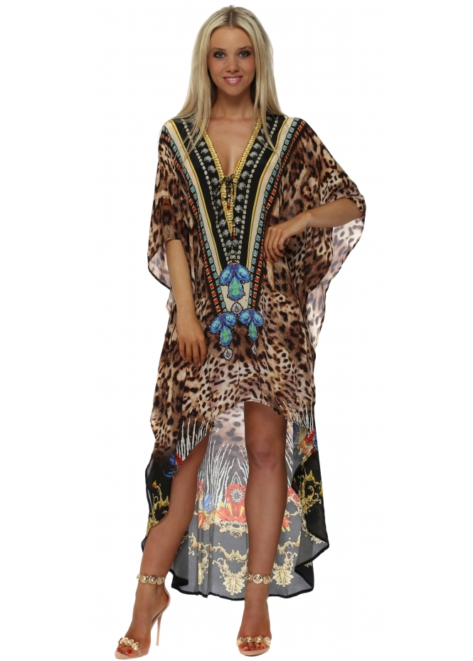 Woodford & Reay Exotic Floral Leopard Print Hi Low Kaftan Dress