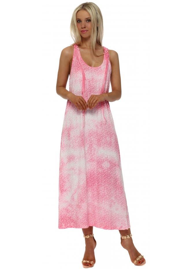 French Boutique Pink Tie Dye Woven Back Maxi Dress