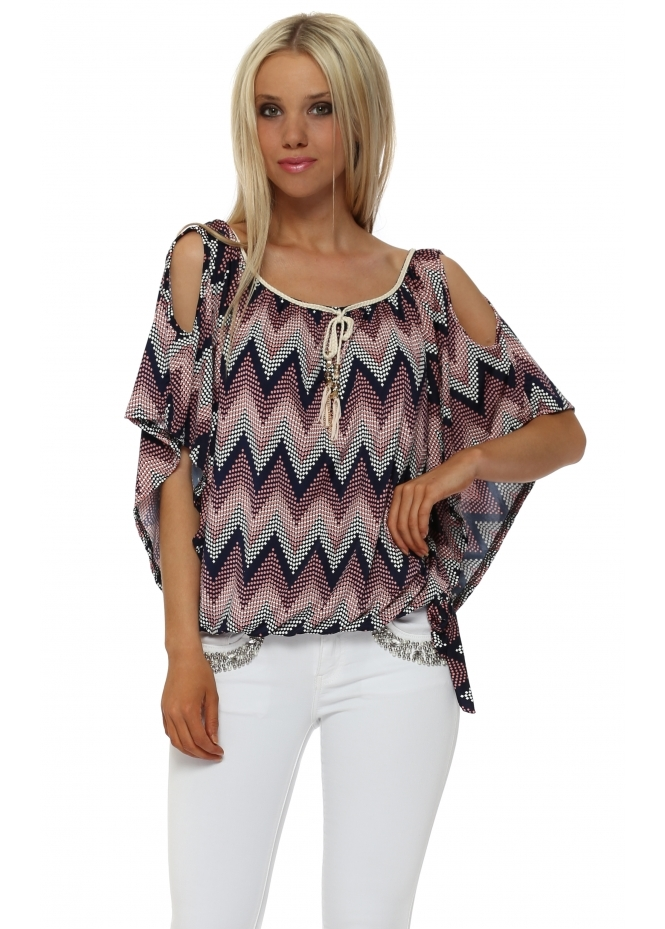 French Boutique Pink & Navy Zig Zag Dot Cold Shoulder Top