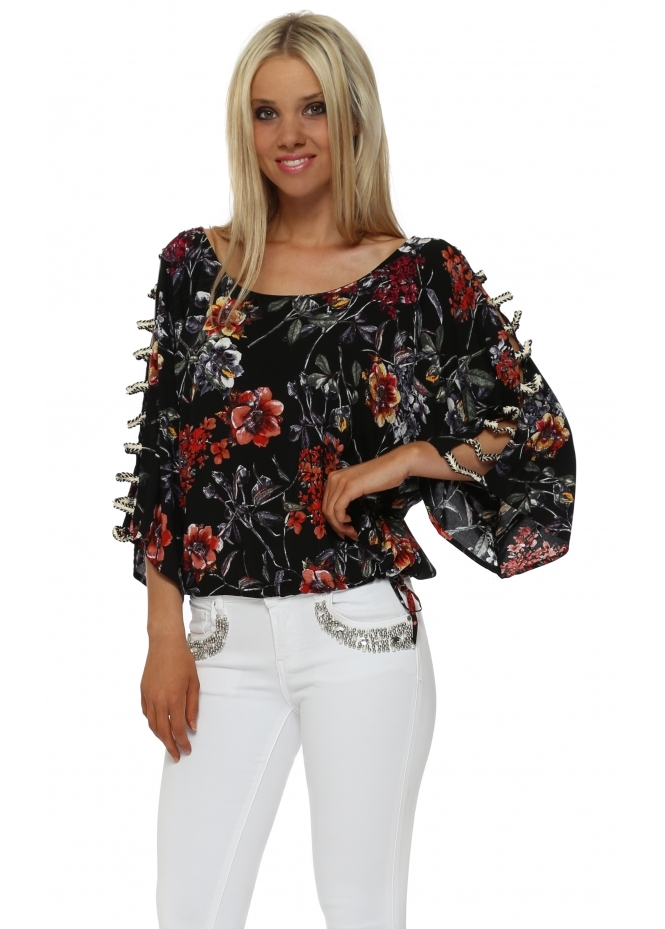 French Boutique Black Floral Print Ladder Sleeve Top