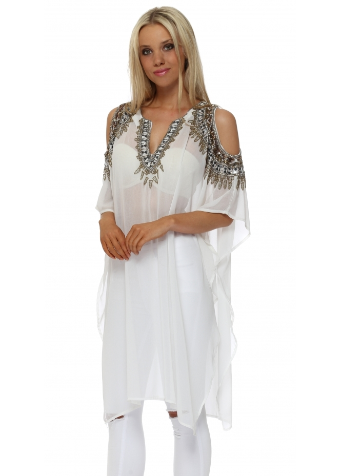 Faust Beaded Cold Shoulder White Kaftan