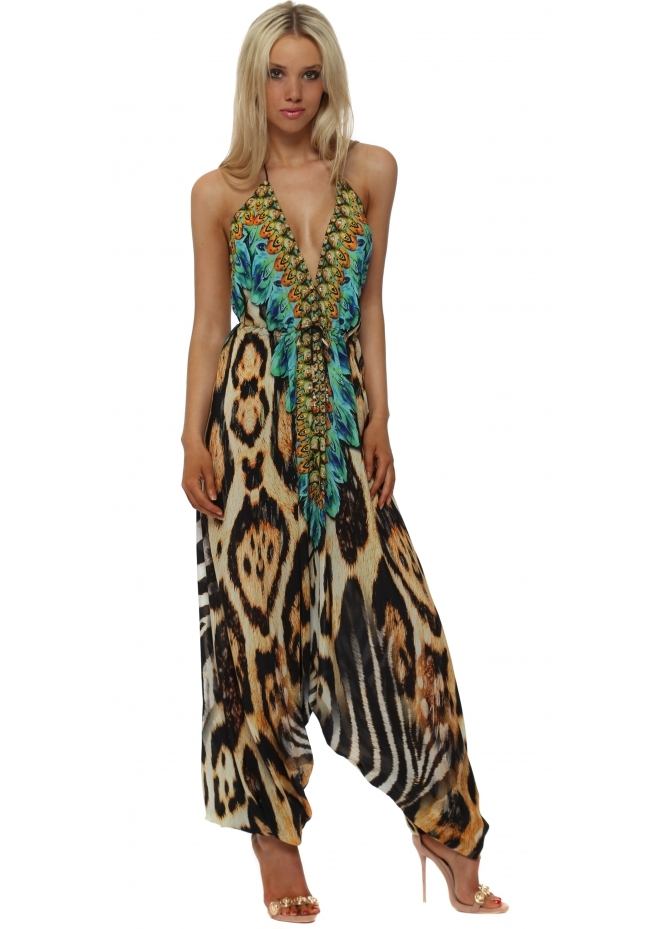 Woodford & Reay Exotic Turquoise Safari Print Halter Neck Jumpsuit