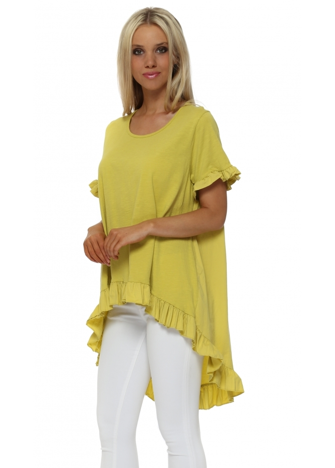 Made In Italy Lime Green Hi Lo Cotton Frill Top