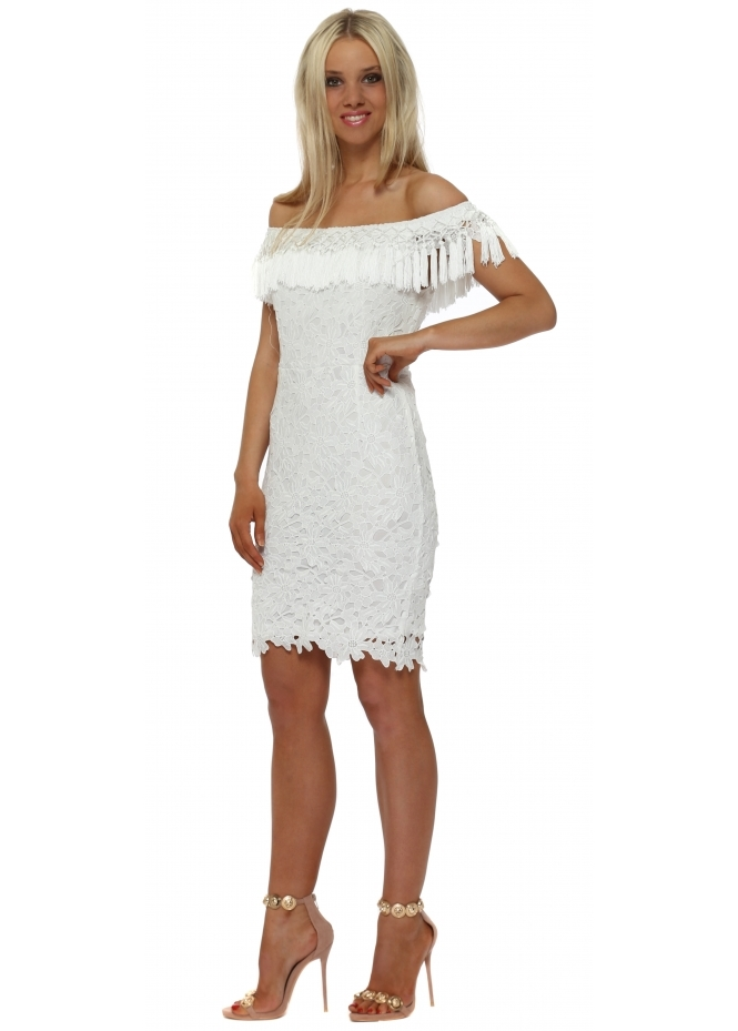 Drole de Copine White Lace Tassle Bardot Pencil Dress