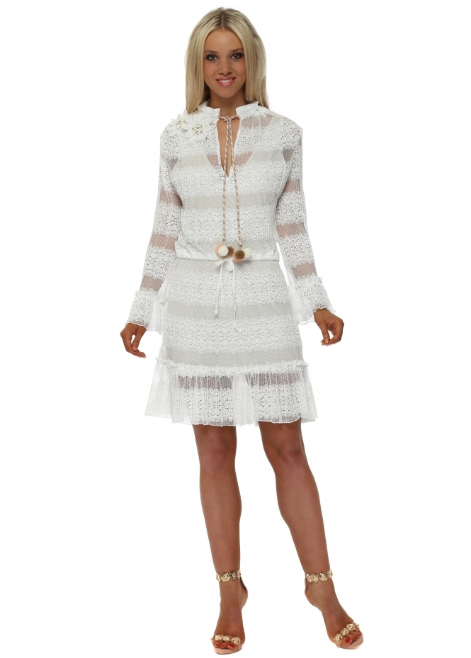 My Story White Lace Pom Pom Tie Mini Dress