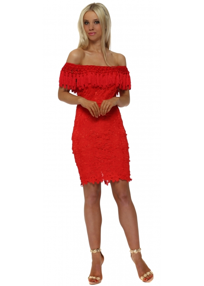 Drole de Copine Red Lace Tassle Bardot Pencil Dress