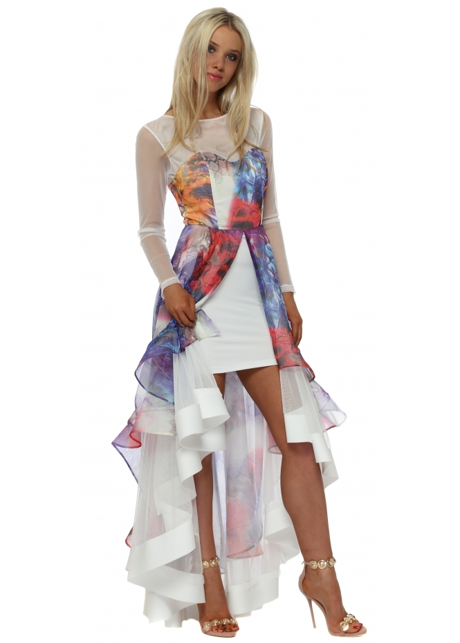 Red & Royal Multi Coloured Silk Frill Hi Lo Dress