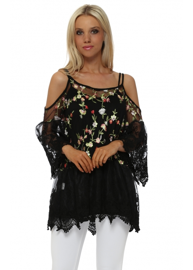 French Boutique Black Floral Lace Cold Shoulder Tunic Top