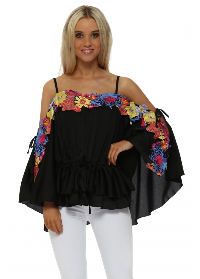 Faust Black Satin Floral Embroidered Batwing Top