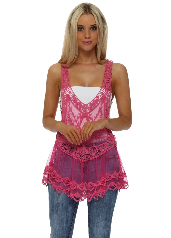 Made In Italy Fuchsia Crochet Lace Vest Top