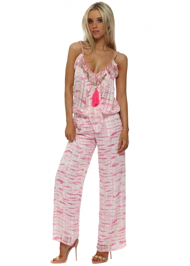 Just M Paris Fuchsia Tie Dye Chiffon Shell Jumpsuit