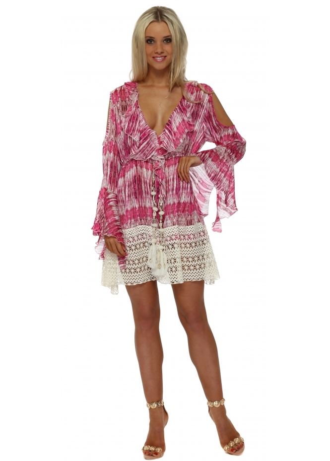Laurie & Joe Pink Tie Dye Chiffon Ruffle Mini Dress