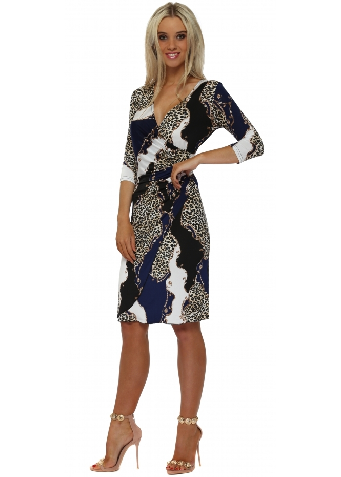 Lonkel Royal Blue & Black Leopard Chain Print Wrap Dress