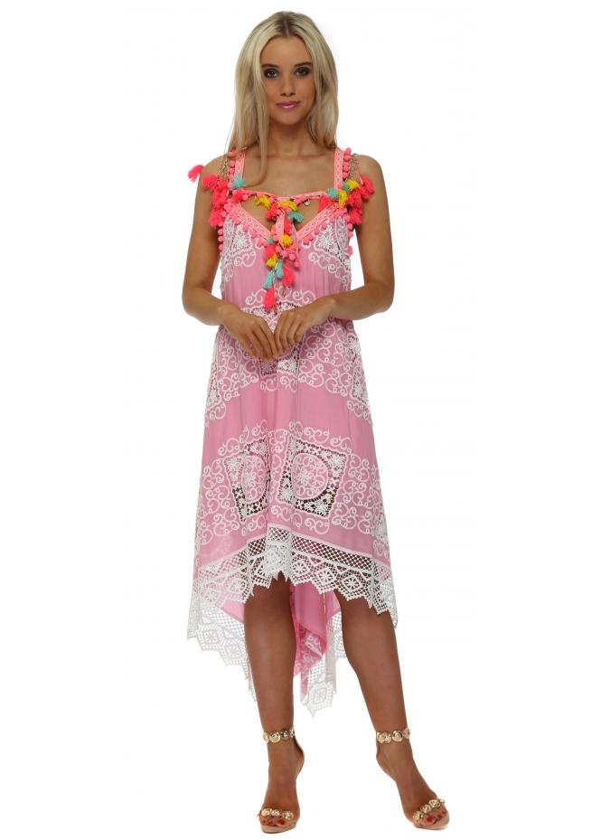 Laurie & Joe Pink Lace Neon Pom Pom Handkerchief Dress