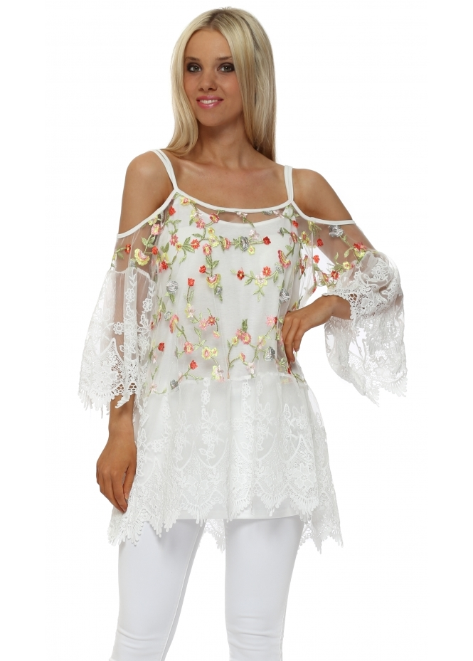French Boutique White Floral Lace Cold Shoulder Tunic Top