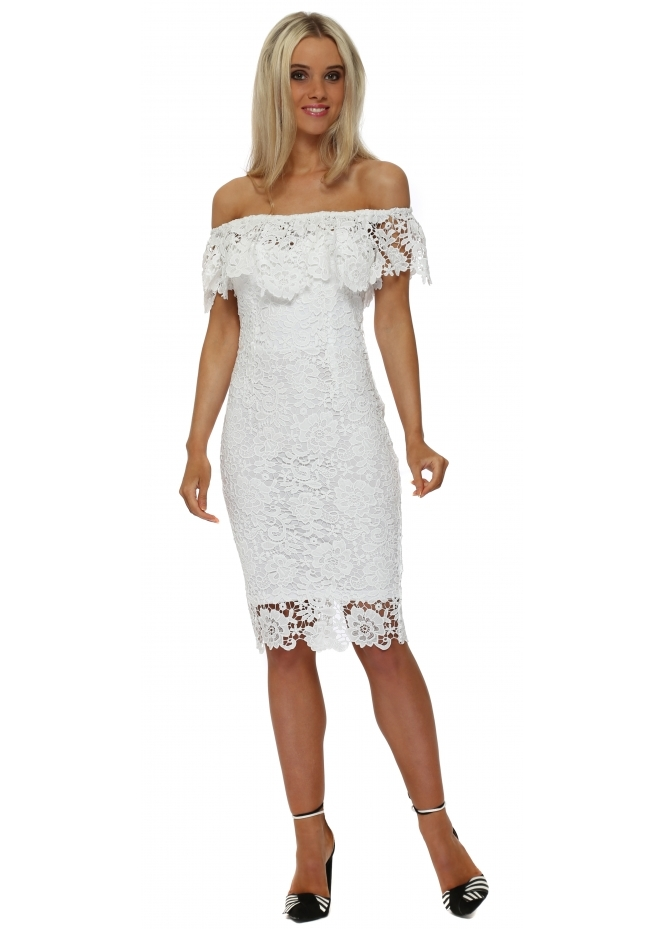 Paper Dolls White Crochet Lace Bardot Frill Pencil Dress