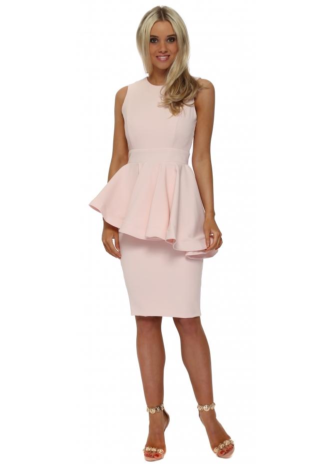 Rebecca Rhoades Juillet Pink Peplum Halterneck Midi Dress