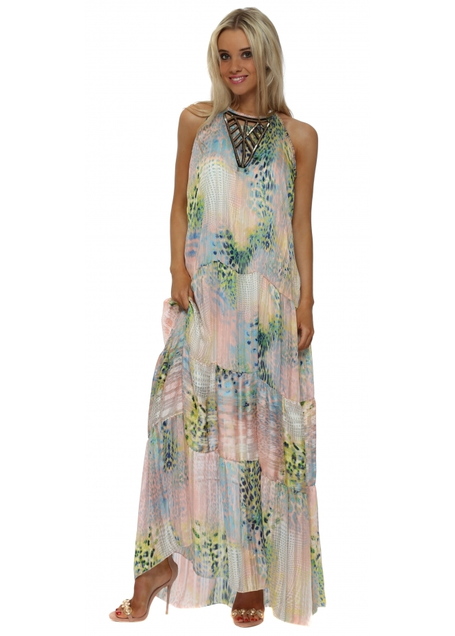 My Story Pastel Leopard Print Chiffon Maxi Dress
