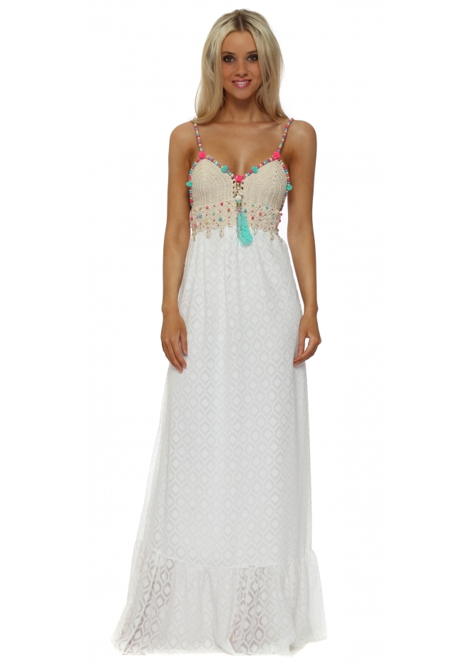 My Story White Lace Crochet Tassel Bodice Maxi Dress