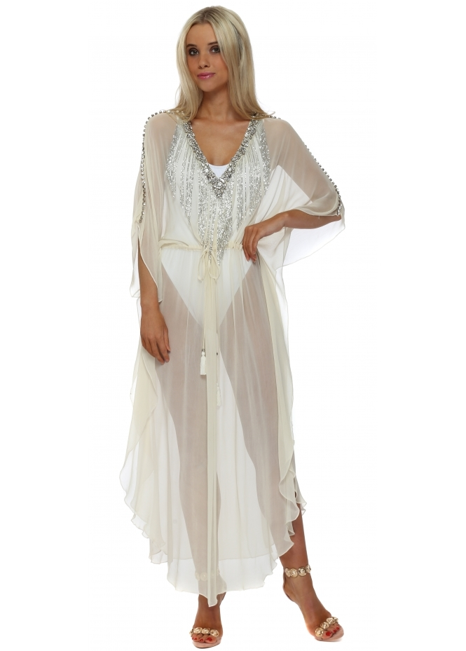 Monaco Cream Chiffon Crystal Waterfall Maxi Kaftan