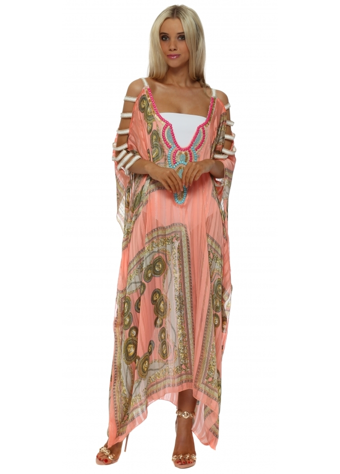 My Story Coral Italian Chain Ladder Sleeve Maxi Kaftan Dress