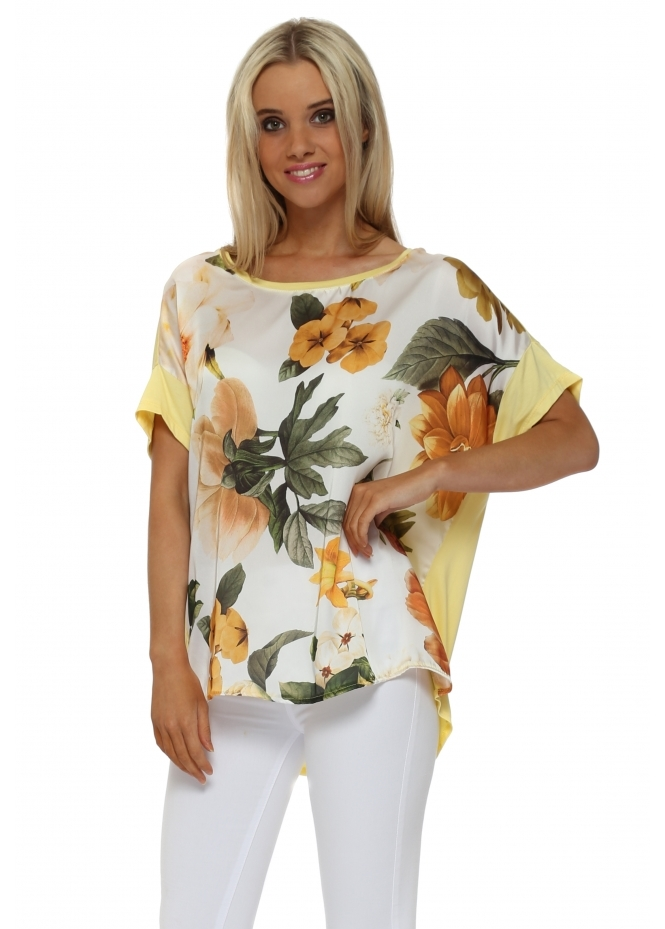 J&L Paris Yellow Floral Satin Front Oversized T-Shirt