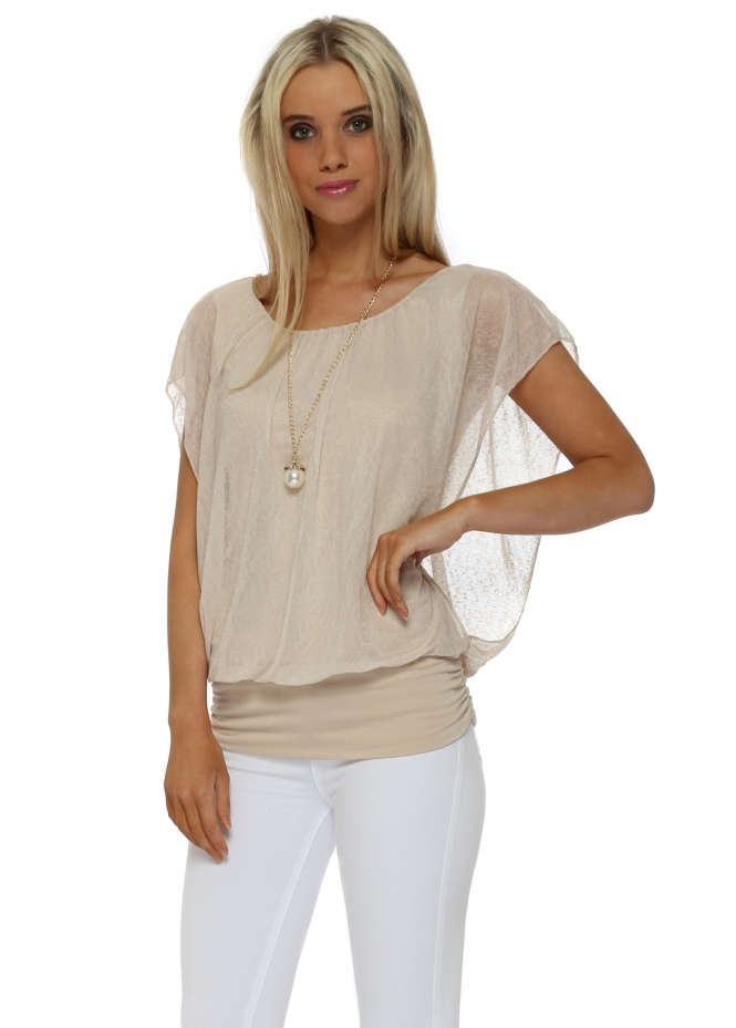 Italian Boutique Beige Sleeveless Bandeau Hem Necklace Top