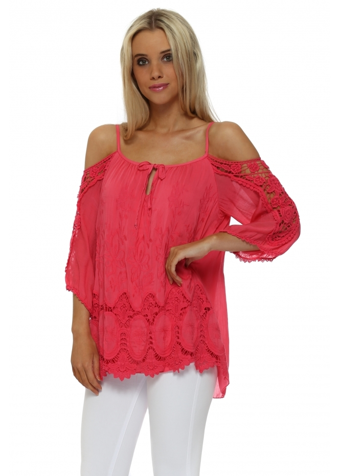 Made In Italy Pink Crochet Cold Shoulder Blouse