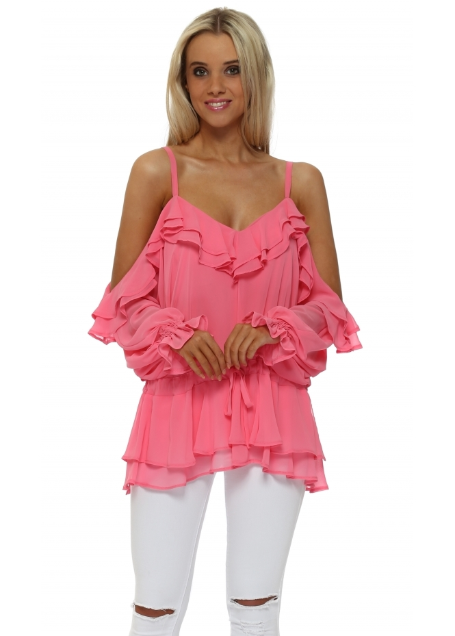 Faust Candy Pink Chiffon Frill Cold Shoulder Top