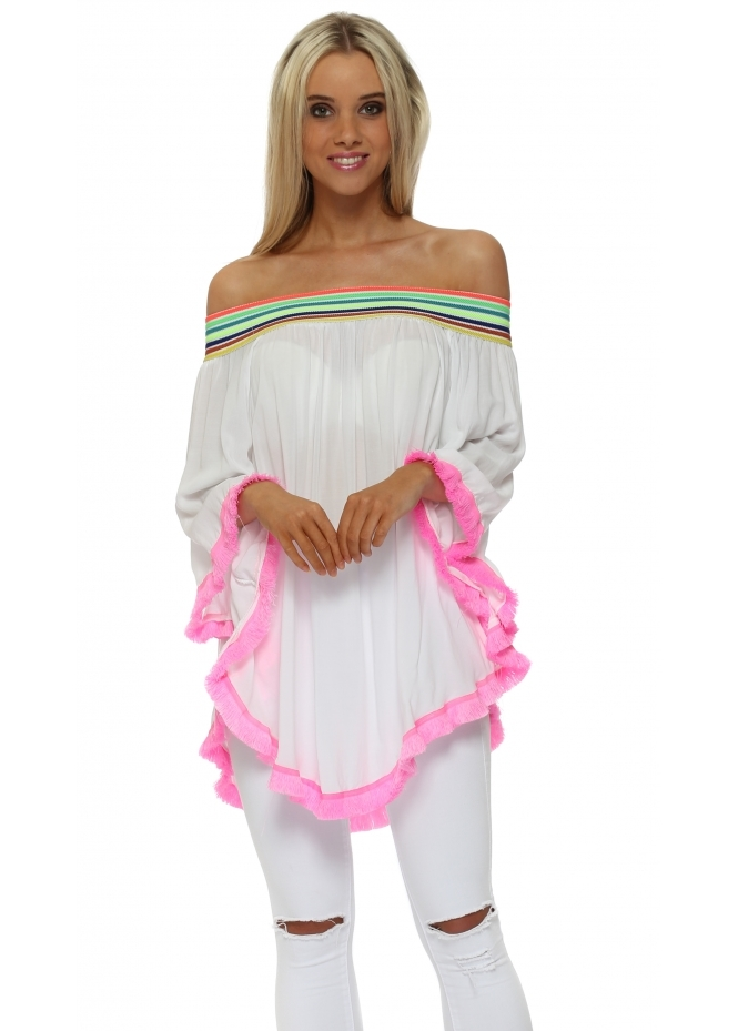 French Boutique Off The Shoulder Neon Rainbow Fucshia Tassle Top