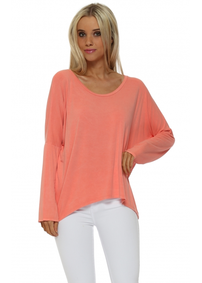 A Postcard From Brighton Karma Long Sleeve Slouch Top In Melon