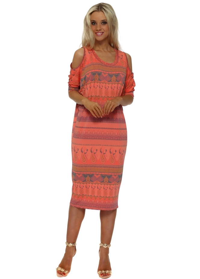 A Postcard From Brighton Martina Marrakesh Cold Shoulder Dress In Melon