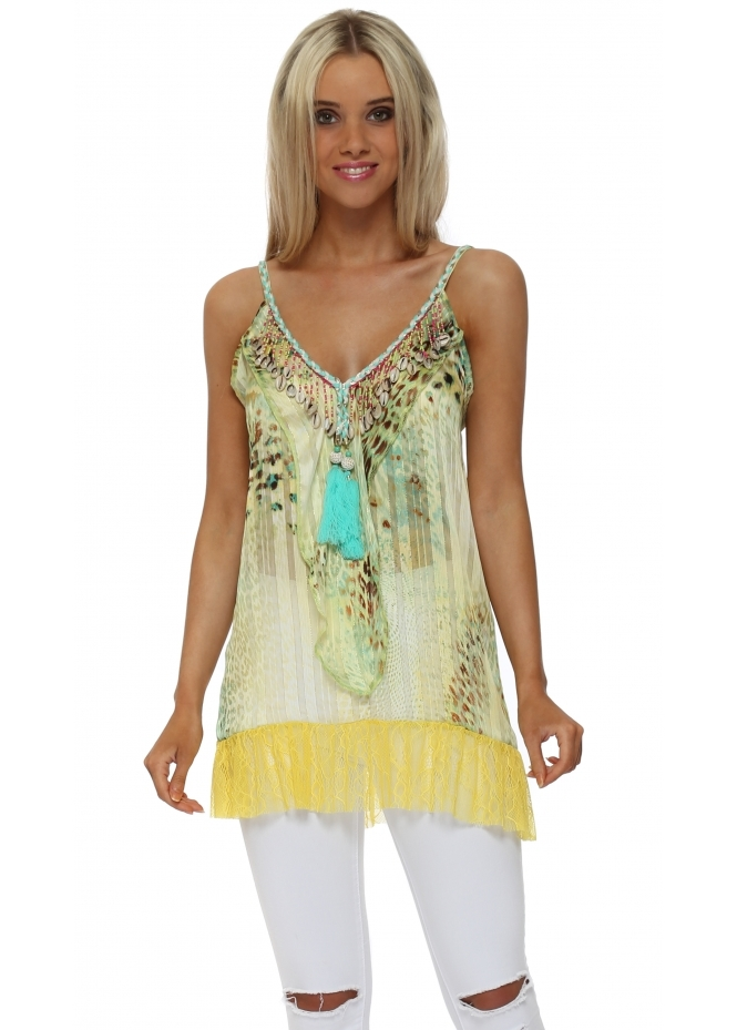 Just M Paris Yellow Leopard Print Chiffon Shell Top