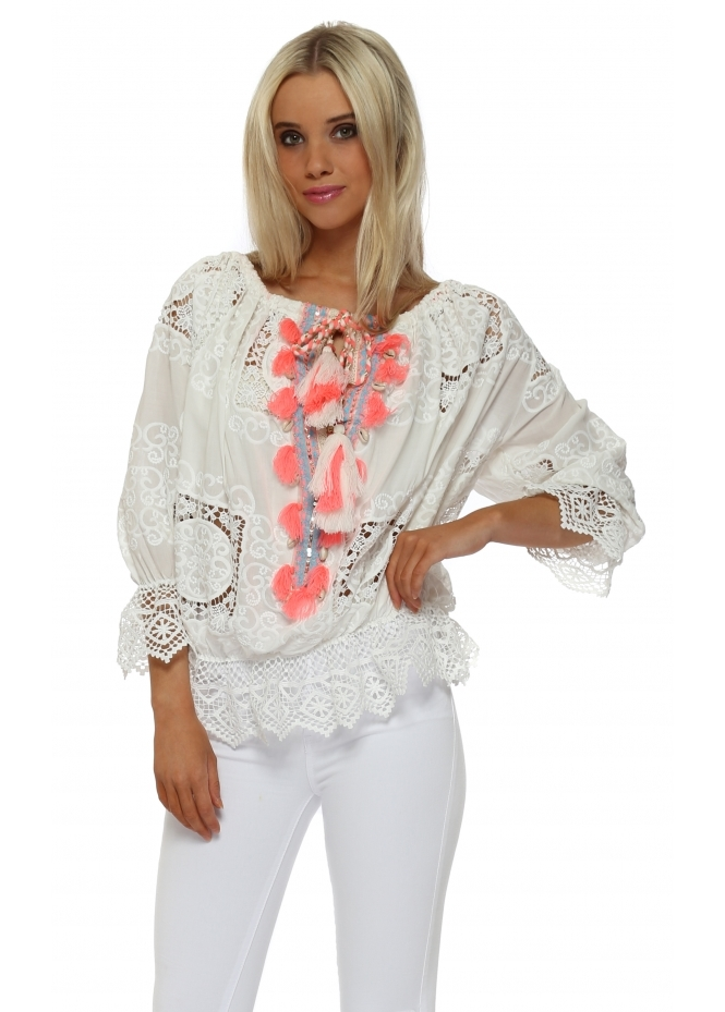 Laurie & Joe White Crochet Shell Tassle Tie Blouse